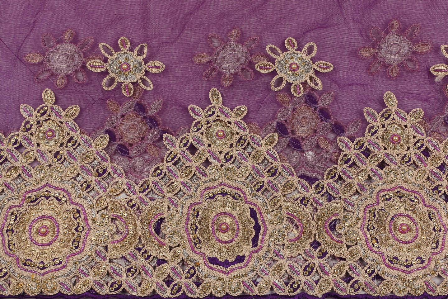 Hand Embroidered Blouse Design # 3370 - Purple - With Blouse - 1.7 Yards