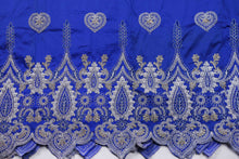 Load image into Gallery viewer, Machine Embroidered George Wrapper Design # 7406 - Royal Blue - With Blouse