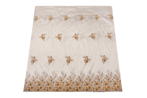 Hand Stoned George Wrapper Design # 6730 - Cream - With Blouse