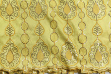 Load image into Gallery viewer, Machine Embroidered George Wrapper Design # 7091 - Yellow - Without Blouse