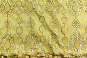Machine Embroidered George Wrapper Design # 7091 - Yellow - Without Blouse