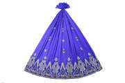 Hand Embroidered George Wrapper Design # 9424 - Royal Blue - Without Blouse
