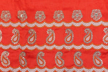 Load image into Gallery viewer, Machine Embroidered George Wrapper Design # 7070 - Burnt Orange  - With Blouse