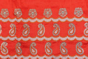 Machine Embroidered George Wrapper Design # 7070 - Burnt Orange  - With Blouse