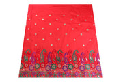Machine Embroidered George Wrapper Design # 7063 - Red - Without Blouse