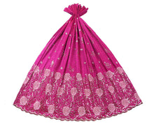 Load image into Gallery viewer, Machine Embroidered George Wrapper Design # 7082 - Fuchsia Pink - Without Blouse