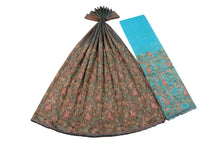 Load image into Gallery viewer, Hand Embroidered George Wrapper Design # 9681 - Teal Blue - With Contrast Blouse