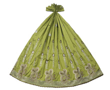 Load image into Gallery viewer, Machine Embroidered George Wrapper Design # 7093 - Olive Green - Without Blouse