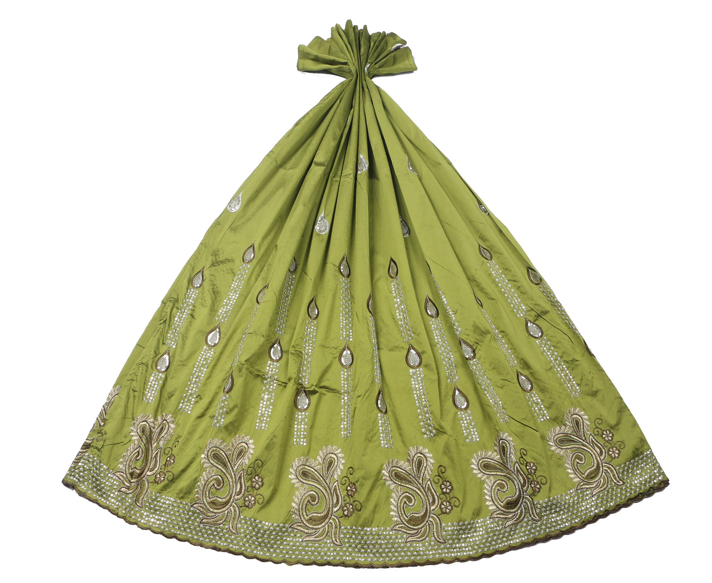 Machine Embroidered George Wrapper Design # 7093 - Olive Green - Without Blouse