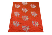 Hand Embroidered George Wrapper Design # 9625 - Burnt Orange - With Blouse