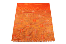 Load image into Gallery viewer, Machine Embroidered George  Wrapper Design # 7434 - Burnt Orange - With Blouse