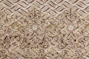 Hand Embroidered George Wrapper Design # 9642 - Champagne Gold - With Blouse
