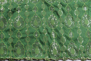 Machine Embroidered George Wrapper Design # 7091 - Olive Green - Without Blouse