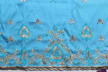 Load image into Gallery viewer, Machine Embroidered George Wrapper Design # 7047 - Sky Blue - Without Blouse