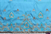 Machine Embroidered George Wrapper Design # 7047 - Sky Blue - Without Blouse