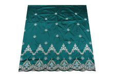 Load image into Gallery viewer, Machine Embroidered George Wrapper Design # 7435 - Teal Green - With Blouse