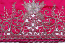 Load image into Gallery viewer, Hand Embroidered George Wrapper Design # 9498 - Fuchsia Pink - With Blouse
