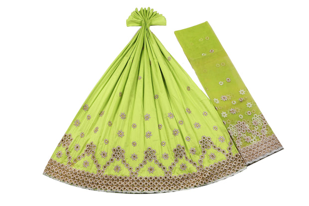 Machine Embroidered George Wrapper Design # 7459 - Lime Green - With Blouse