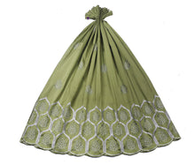 Load image into Gallery viewer, Machine Embroidered George Wrapper Design # 7064 - Olive Green - Without Blouse