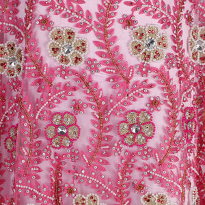 Hand Embroidered Fabric Design # 4054 - Baby Pink- 5 Yard Piece