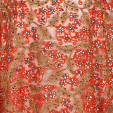Load image into Gallery viewer, Hand Embroidered Fabric Design # 4175 - Burnt Orange - Per Yard