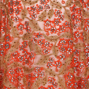 Hand Embroidered Fabric Design # 4175 - Burnt Orange - Per Yard