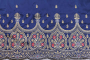 Machine Embroidered George Wrapper Design # 7409 - Navy Blue - With Blouse
