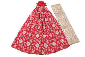 Hand Stoned George Wrapper Design # 6727 - Red - With Blouse
