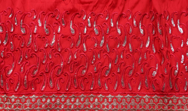 Machine Embroidered George Wrapper Design # 7068 - Red  - With Blouse