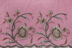 Hand Embroidered Blouse Design # 3284 - Fuchsia Pink - 1.7 Yards