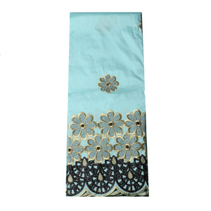 Machine Embroidered Single George Wrapper Design # 5002 - Sky Blue
