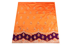 Load image into Gallery viewer, Machine Embroidered George Wrapper Design # 7071 - Saffron - Without Blouse