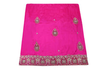 Load image into Gallery viewer, Hand Embroidered George Wrapper Design # 9418 - Fuchsia Pink - Without Blouse