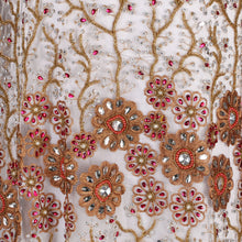 Load image into Gallery viewer, Hand Embroidered Fabrics Design # 4131 - Champagne Gold - Per Yard