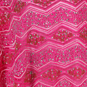 Hand Embroidered Fabric Design # 4103 - Fuchsia Pink - Per Yard