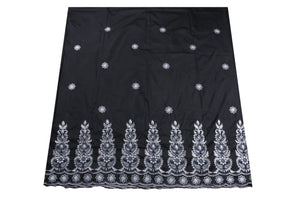 Machine Embroidered George Wrapper Design # 7087 - Black  - With Blouse