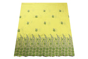 Machine Embroidered George Wrapper Design # 7395 - Yellow - With Blouse