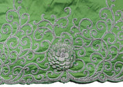 Hand Embroidered George Wrapper Design # 9410 - Lime Green - With Blouse