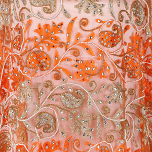 Hand Embroidered Fabric Design # 4090 - Burnt Orange - Per Yard