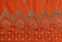Load image into Gallery viewer, Machine Embroidered George Wrapper Design # 7060 - Dark Orange - Without Blouse
