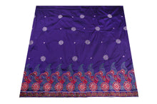 Load image into Gallery viewer, Machine Embroidered George Wrapper Design # 7079 - Purple - Without Blouse