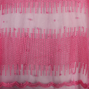 Machine Embroidered Fabric Design # 4027- Baby Pink - With Pearls - 5 Yard Piece