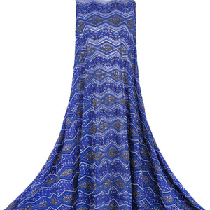 Hand Embroidered Fabric Design # 4103 - Royal Blue - Per Yard