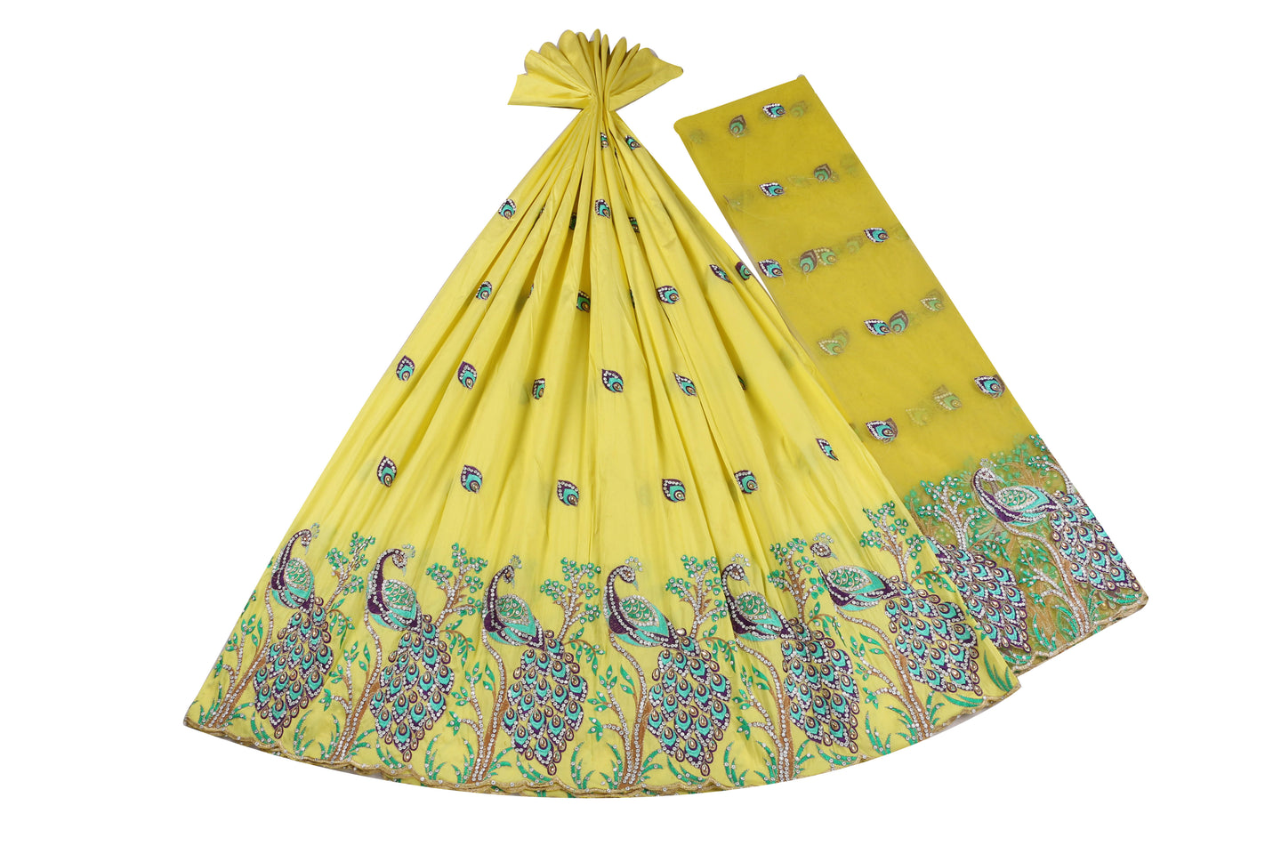 Hand Stoned George Wrapper Design # 6705 - Yellow - With Blouse