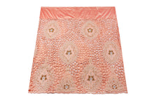 Load image into Gallery viewer, Hand Embroidered George Wrapper Design # 9678 - Peach - With Blouse