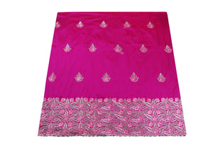 Machine Embroidered George Wrapper Design # 7408 - Fuchsia - With Blouse