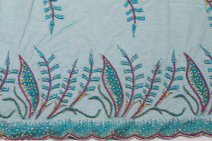 Hand Embroidered Blouse Design # 3253 - Pure Green - 1.7 Yards