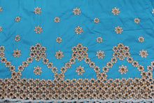 Load image into Gallery viewer, Machine Embroidered George Wrapper Design # 7459 - Sky Blue - With Blouse