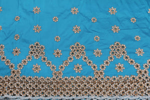 Machine Embroidered George Wrapper Design # 7459 - Sky Blue - With Blouse