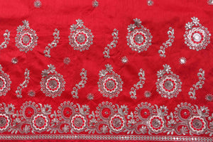 Machine Embroidered George Wrapper Design # 7095 - Red - Without Blouse